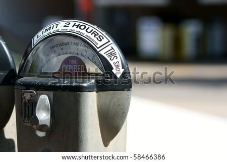 Expired parking meter - stock photo