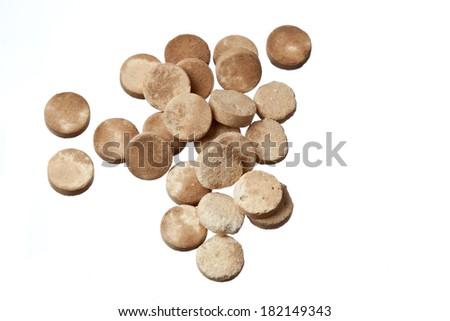 expired pills isolated on white background - stock photo