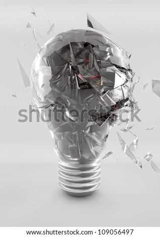 exploding light bulb high energy costs - stock photo