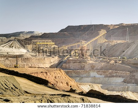 Exploitation of copper in middle Chile, region of Coquimbo - stock photo