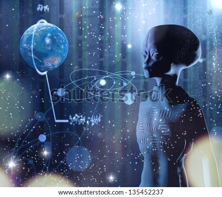 explores the alien planet Earth - stock photo