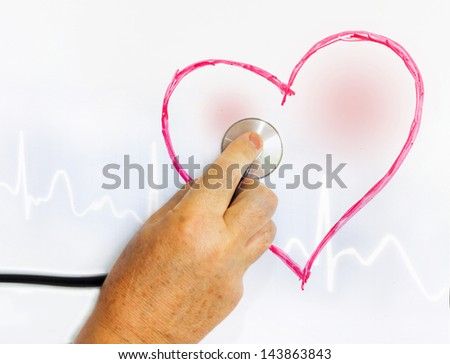Exploring heart painted on a blackboard - stock photo