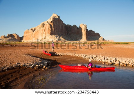 Exploring the Desert Landscape of Lake Powell  - stock photo