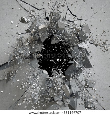 explosion, cracked concrete wall, bullet hole, destruction, abstract 3d background - stock photo