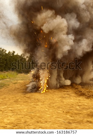 explosion, fire, flash, flame - stock photo