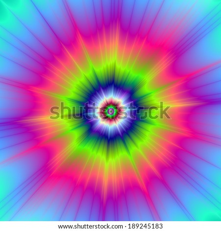 Explosion in Blue Green and Pink / Abstract fractal image with a color explosion design in blue, green and pink. - stock photo