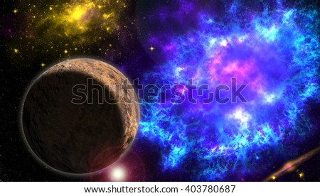 Explosion in space. The died star. Bright explosion. Eclipse. Star patch of light. Space matter. Planet. Mars. Lena. Rocky texture . Force of creation and destruction . Explosion of space energy .  - stock photo