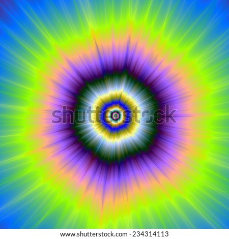 Explosion in Yellow and Violet / A digital abstract fractal image with a exploding firework design in yellow, violet ,blue and green. - stock photo