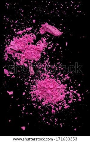 Explosion makeup powder black background - stock photo
