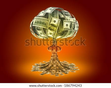 Explosion of money on red background - economy concept - stock photo