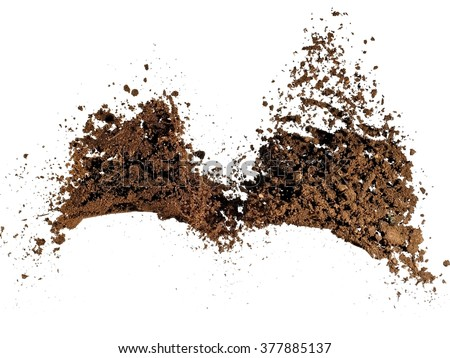 Explosion of two piles soil - stock photo
