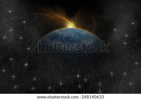 Explosion planet in space. Digital retouch. - stock photo