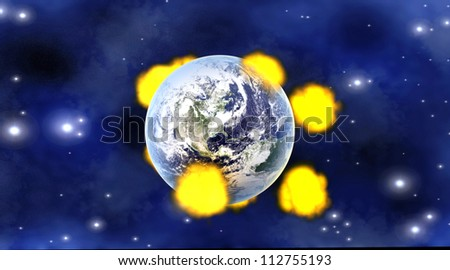 Explosions after multiple Meteor impacts on Planet earth. 3D rendered illustration. Elements of this image furnished by NASA - stock photo