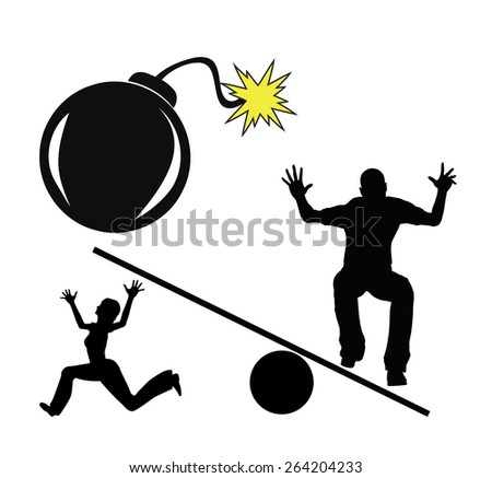 Explosive Conflict. Concept sign of escalating and violent controversy between couple - stock photo
