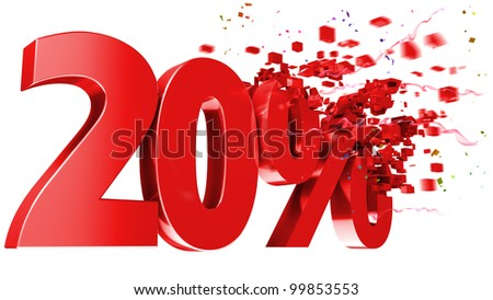 explosive 20 percent off isolated on white background - stock photo