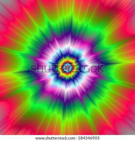 Explosive Tie-Dye / Digital abstract fractal image with a explosive tie-dye design in blue, green, pink, violet and yellow. - stock photo