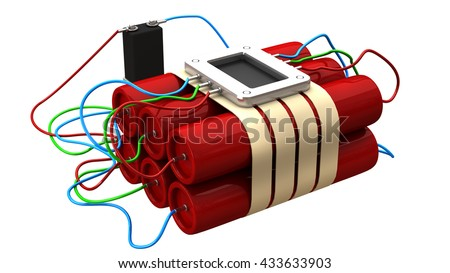 Explosives with alarm clock detonator isolated on white background. High resolution 3d - stock photo
