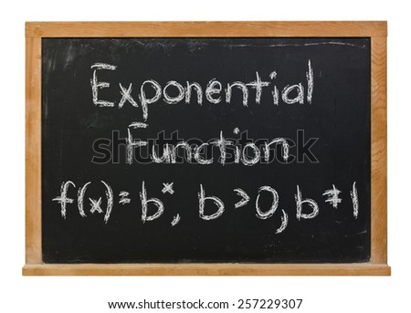 Exponential function written in white chalk on a black chalkboard isolated on white  - stock photo
