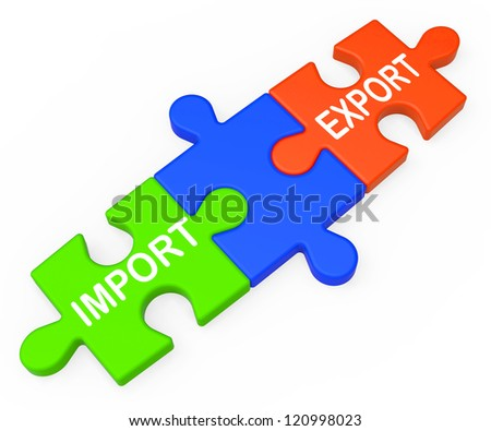 Export Import Keys Showing International Global Trade And Commerce - stock photo