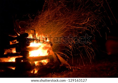 Exposed Campfire - stock photo