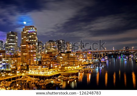 Exposed Shot Of Vancouver On A Clear Night - stock photo