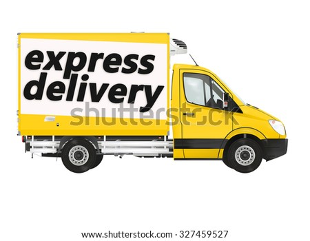 Express delivery. Van on the white background. Raster illustration. - stock photo