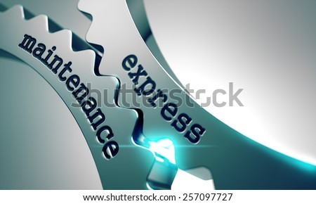 Express Maintenance on the Mechanism of Metal Gears. - stock photo