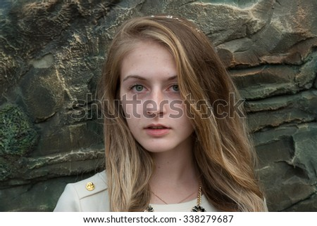 expressing portrait of attractive emotional girl outdoor - stock photo