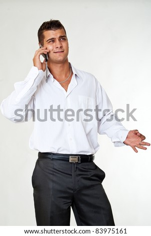 Expression business man calls phone - stock photo