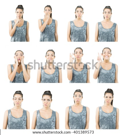 expression collage - stock photo