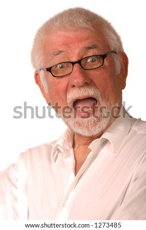 Expression of man being surprised - stock photo
