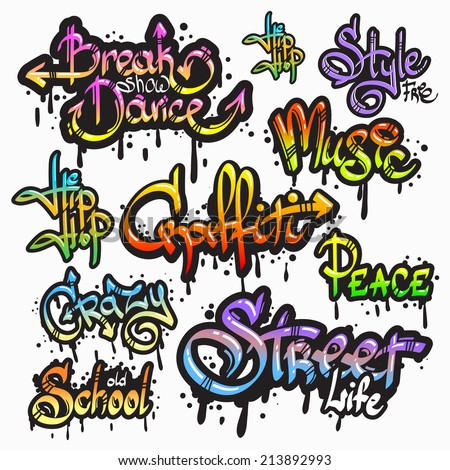 Expressive collection of graffiti urban youth art individual words digital spray paint creator grunge isolated  illustration - stock photo