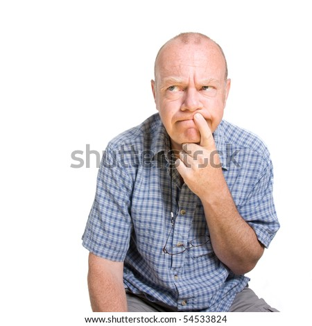 Expressive old man thinking isolated against white background. - stock photo