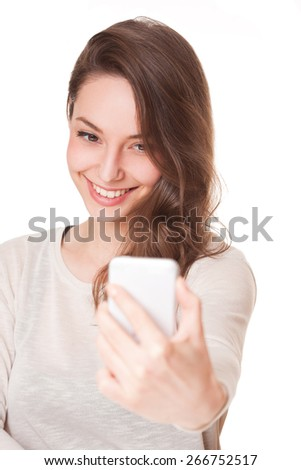 Expressive portrait of gorgeous young brunette woman. - stock photo