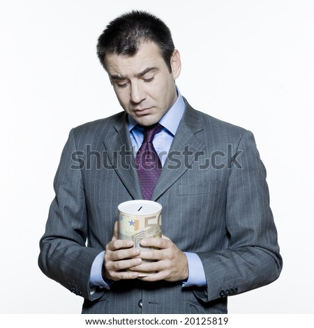 expressive portraits on isolated white background of a handsome  businessman on stock market crisis - stock photo