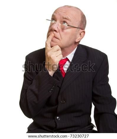 Expressive senior businessman isolated on white thinking concept - stock photo