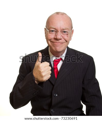 Expressive senior businessman isolated on white thumbs up concept - stock photo