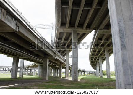 Expressway bridge daylight traffic transportation - stock photo