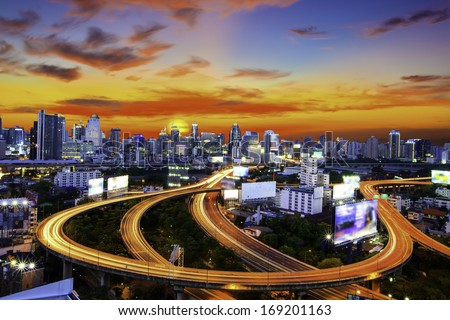 Expressway Bridge in Bangkok. - stock photo