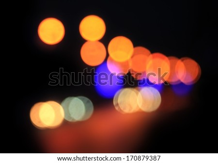 expressway in rainy twilight. Out of focus - stock photo