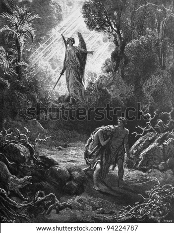Expulsion of Adam and Eve from paradise. 1) Le Sainte Bible: Traduction nouvelle selon la Vulgate par Mm. J.-J. Bourasse et P. Janvier. Tours: Alfred Mame et Fils. 2) 1866 3) France 4) Gustave Doré - stock photo