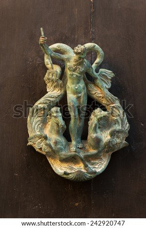 Exquisite door knocker of old Maltese house in Mdina - stock photo