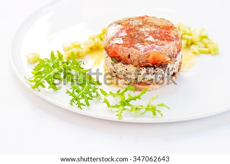 Exquisite Terrine made of Green Lentils and Smoke-Cured Salmon - stock photo