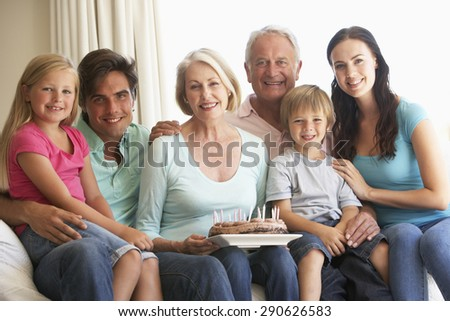 Extended Family Group Celebrating Birthday - stock photo