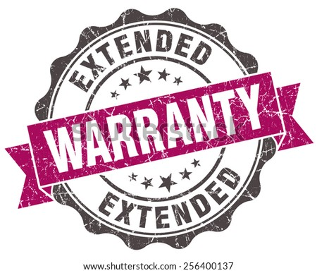 extended warranty grunge violet seal isolated on white - stock photo