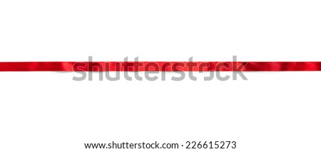 Extending simple red ribbon with typical ripples or wrinkles of a silky or satin ribbon , isolated on white.  - stock photo