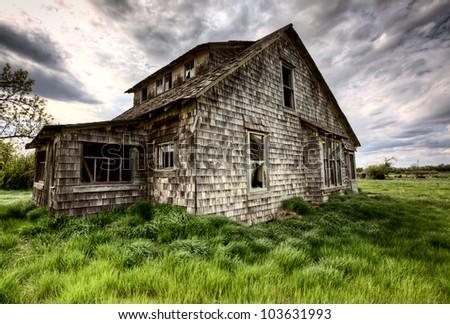 Exterior Abandoned House Prairie Saskatchewan Canada - stock photo