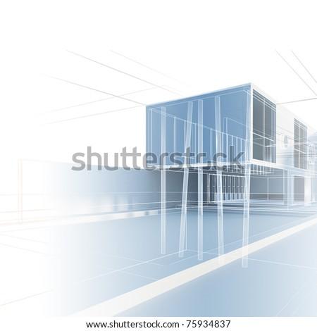 Exterior blueprint. 3d construction project - stock photo