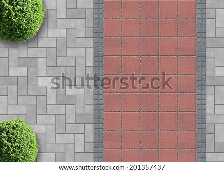 exterior detail in aerial view with permeable pavement - stock photo