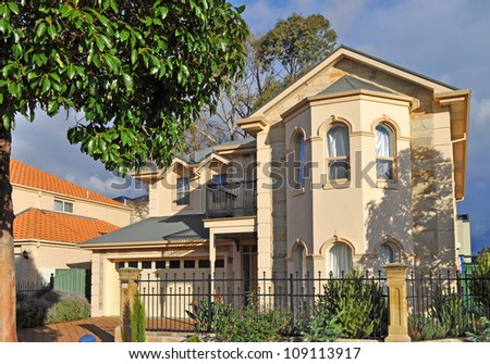 Exterior facade of Australian family home - stock photo